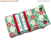 On SALE Fabric Card Wallet - Business Cards - Bank cards - Gift Cards - Stud Fastening - 2 Pockets