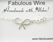 Sterling Silver Wire Bow Tie Personalized Bracelet, Bow knot With Initial Charm Necklace, Love And Friendship Bow Jewelry