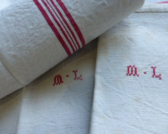 3 Superb Tea Towel French Vintage, Traditional, Pure Linen, Monogrammed, M.L.