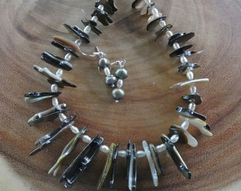 22 Inch Pearl and Irregular Graduated Mother of Pearl Stick Beads with Earrings