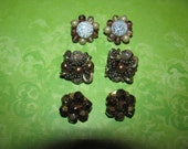 Lot of Vintage Gold Cream Tan Clip On Cluster Earrings