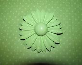 Vintage Light Green Enamel Flower Brooch Pin