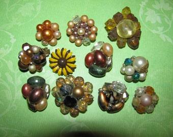 Vintage Mismatched Earring Lot for Parts Crafts Rhinestone Beaded Destashed