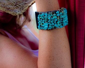 Turquoise and Leather Cuff Bracelet, Gemstone Jewelry, Handmade Leather Boho Style Cuff, Black Turquoise