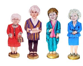 The Golden Girls Cast Hand Painted 2D  Art Figurines