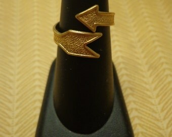 Vintage New Old Stock Brass Arrow Adjustable Wrap Ring