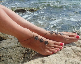 Bronze Barefoot Sandals - Boho foot chain- Bronze chain foot and ankle jewelry- Slave anklet - Barefoot sandals boho- Gypsy Barefoot sandals