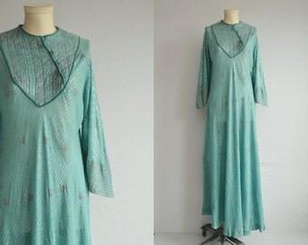 Vintage 70s India Caftan  / 1970s Sheer Floral Print Indian Gauze Cotton Hippie Festival Dress / Bias Cut Maxi Dress Jade Green Silver