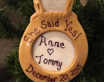 Handcrafted Polymer Clay Engagement Ring Christmas Ornament Wedding Favor