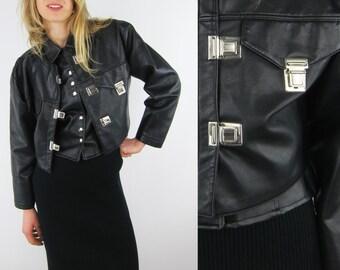 Vtg Cropped Black Vegan Leather Jacket