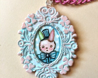 Art Necklace Bunny pink and blue