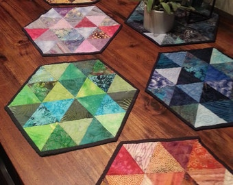 handpieced hexagon placemats