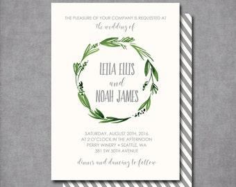 Watercolor botanical wreath kraft Wedding Invitation Shower Invitation Printable Invitation OR Printed Card