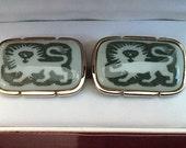 Vintage Swank Royal Copenhagen Porcelain Lion Cufflinks