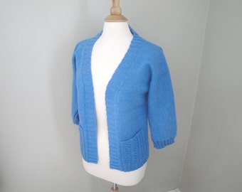 Open Front Cardigan Sweater, Blue, Hand Knit, Wool, Patch Pockets, 3/4 Sleeves, Lace Detailing