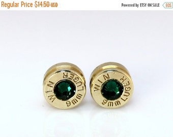 35% Off Bullets Bullet Earrings. May Birthstone. Emerald . 9mm Luger.