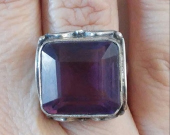 Gorgeous Bohemian Amethyst Square Silver Sterling Ring