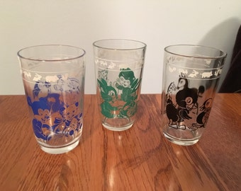 Vintage Swanky Swig Juice Glasses Set of 3 Blue Bear Green Cat Black Duck