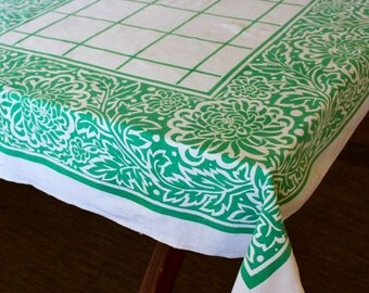 Vintage Linen Tablecloth Printed Green White Floral Mums Classic Plaid Checks