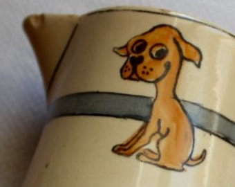 Vintage Pitcher Roseville Juvenile Dog Puppy Childrens Skinny Ceramic Collectible Art Pottery Unmarked AS IS