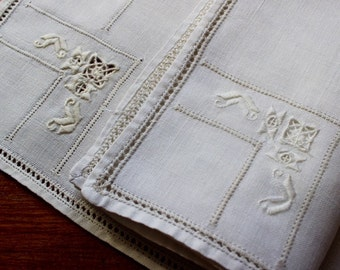 Vintage Linen Placemats Napkins Set 5 6 Place Mats Table Hand Embroidery Cutwork Drawnwork Natural Italian