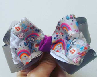 Kawaii rainbow Bow.  Purple and Gray.  Back to School. Birthday parties. Pageants.