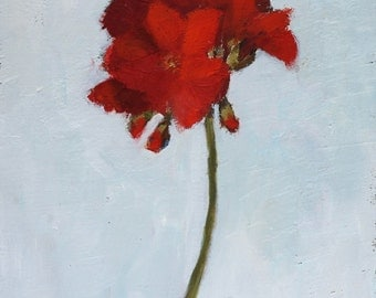 Red Geranium Floral Painting, oil on wood panel, 8x10 inch Canadian Fine Art