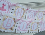 Ballerina birthday banner in pink and gold