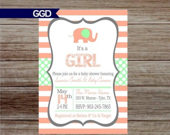 Elephant Baby Girl BABY SHOWER invitation, mint and peach baby shower Invite, Little Girl, baby shower, baby shower invitation, baby girl