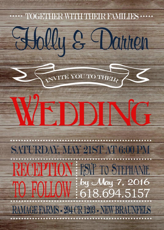 Patriotic Wedding Invitation on Wooden Background, rustic wedding ...