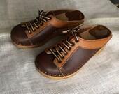 Vintage Bastad Clogs Made in Sweden Brown Bastad Clogs Leather Clogs Size 36