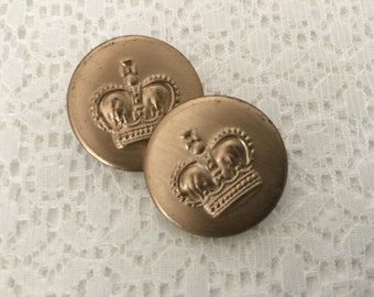 Vintage Metal Picture Buttons,Set of Two Crown Buttons