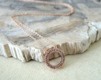 Rose Gold Necklace, Sterling Silver Necklace, Silver Hoop Ring Necklace, Cubic Zirconia, 16K Rose Gold Vermeil Hoop Ring, Gifts For Her