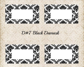 DIY Printable Place Cards for weddings, showers, parties in black Damask