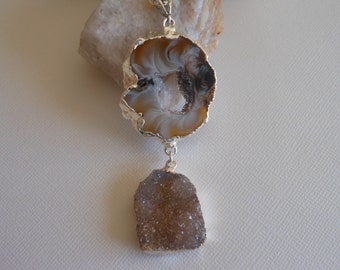 Druzy Necklace, Sterling Silver, Statement Necklace, One of A Kind, Geode Necklace, Earth Tones, Minerals, Gifts for Her, Long Necklace