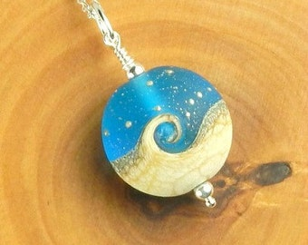Ocean Necklace, Wave Necklace, Wave Jewelry, Beach Necklace, Lampwork Bead Necklace, Beach Jewelry, Wave Jewelry, Ocean Jewelry Nautical Sea