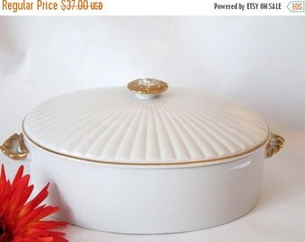 AUGUST SALE Shafford Golden Heirloom Oven to Table Large Casserole Dish and Lid.