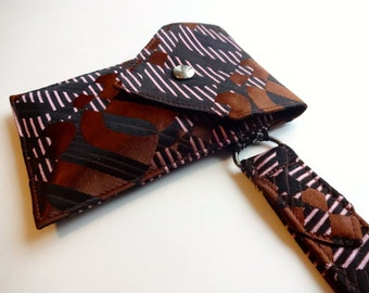 Recycled 3-Pocket Necktie Wristlet Wallet Lavender, Black and Brown Geometric