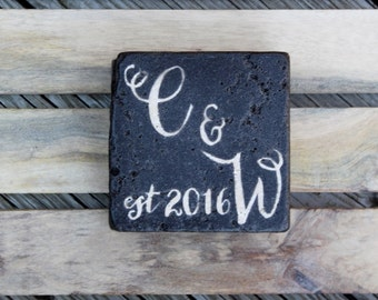 Hand lettered custom intial stone coasters rustic gift Dinner Party Gift Hostess Gift script rustic wedding gift Hand lettered Font