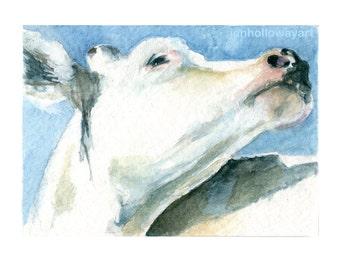 Watercolor Cow, Cow Print, White Cow Print, Farm Animal Print