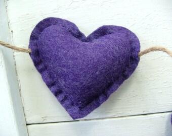 Purple Wool Felt Heart Garland