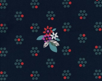 Fruit Blossoms (Navy) - Fruit Dots - Melody Miller - Cotton + Steel - 1 Yard