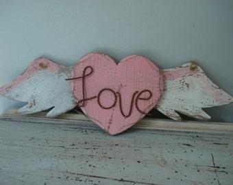 Rustic Wood Sign/Angel Wings Love Sign