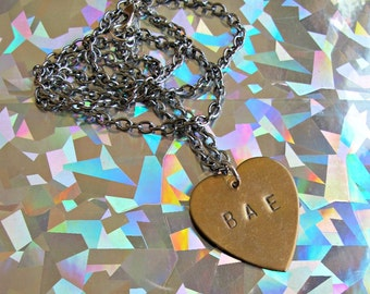 BAE small stamped heart necklace