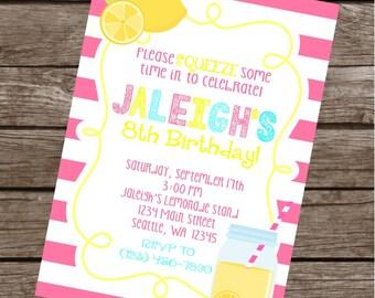 PINK LEMONADE Happy Birthday Party or Baby Shower Invitations Set of 12 {1 Dozen}