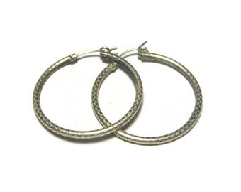Sterling hoop earrings, large sterling silver hoop earrings, textured 925 hoop pierced tubular light earrings