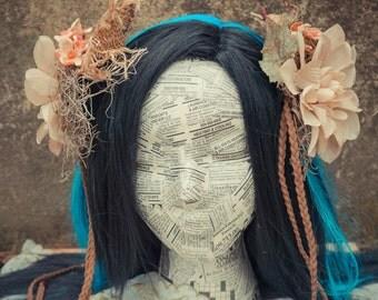 Woodland Flower Hair Clip, Fascinator, Woodland Fascinator,Burning Man,Boho Hair Clip, Fairy Costume,Wedding,Photo Prop,Rustic Wedding