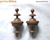 SALE HAPPY Newel Post Toppers PAIR for a Fine Staircase -- Walnut, Antique from France
