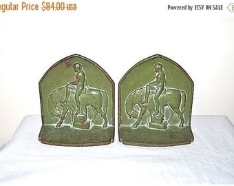 ON SALE Poor Naked Lady Godiva Bookends Large with Original Green Paint 1920s