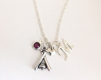 Personalized Baseball Bat Necklace
